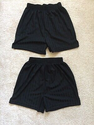 2 X Sainsburys Tu Pe School Black Football Shorts Age 8 Years