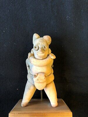 Pre-Columbian Colima Seated Whistle Figure, 300 BC - 300 AD, Free Shipping.