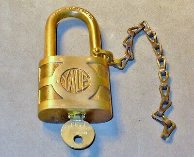 Vtg Yale & Towne Brass/Bronze Padlock-Long Shackle-Chain & Key-Weatherproof Lock