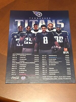 2016 Tennessee Titans Magnetic Team Schedule Mariota, Murray, Orakpo, Casey