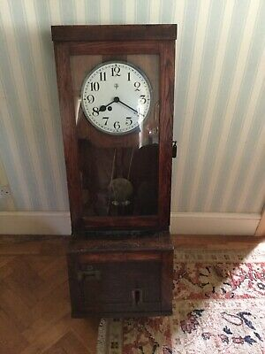 Antique clocking in clock - oak case, fusee movement, good condition