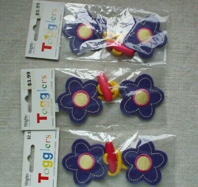 Wrights Togglers - kids toggle closures, 3 packages purple flowers