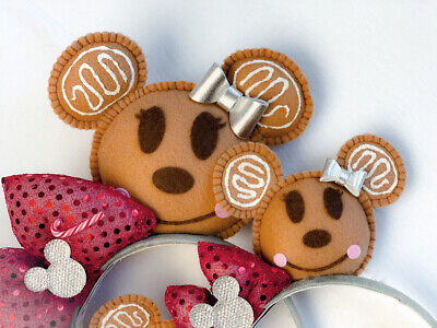 Disney Parks Christmas Gingerbread Minnie Mickey Hand Made Mouse Ears