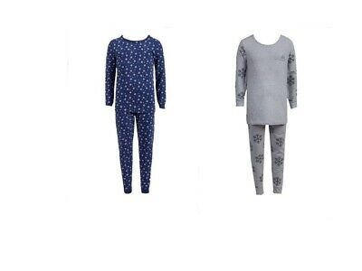 Girls Snooze Snowflakes Star Stretchy Jersey Cotton 2Piece Pyjamas Set 9Mths-15y