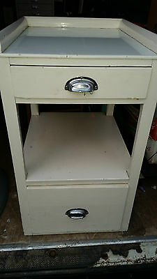 Antique White Painted Wash Stand ? Metal Cup Handles Plastic/Glass Top Pine ?