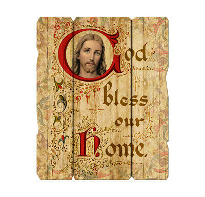 """God Bless Our Home JESUS Wood Plaque, 9"""" x 7 1/2"""" x 1/4"""" Made In Italy"""