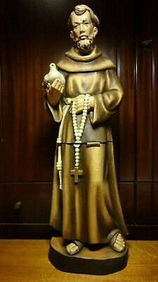 """Vintage 22"""" Wooden Hand Carved Patron Saint St Francis Assisi Statue Relic Stash"""