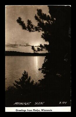 Dr Jim Stamps Us Moonlight Scene Lake Greetings From Phelps Wisconsin Postcard