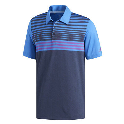 New 2019 Adidas Ultimate 3 Stripe Heather Gradient Golf Polo
