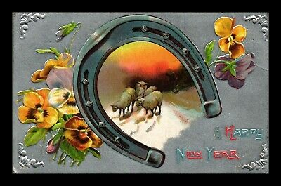 Dr Jim Stamps Us Happy New Year Horseshoe Sheep Topical Greetings Postcard