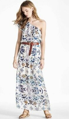 Lucky Brand Skylar White One Shoulder Floral Maxi Boho Dress Festival Women's XL