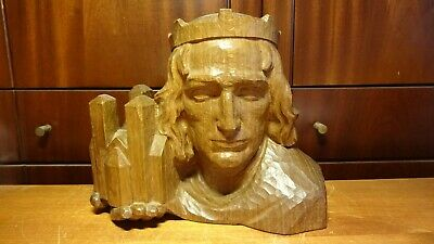 Antique Wood Hand Carved Bust Of German Saint St King The Bamberg Stone Horsemen