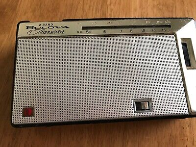 VINTAGE RARE BULOVA 2 BAND 7 TRANSISTOR RADIO MODEL 2YC-23 BLACK AND BEIGE,parts