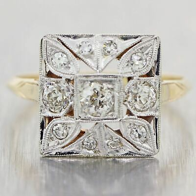 1930's Antique Art Deco Platinum & 14k Yellow Gold 0.88ctw Diamond Ring