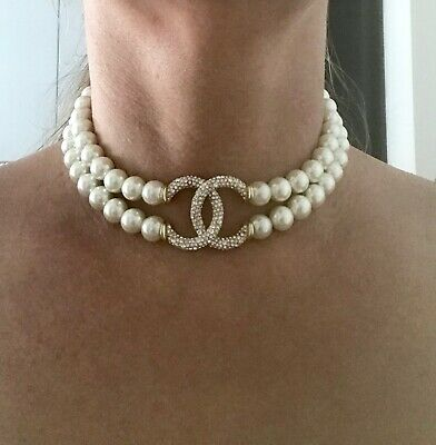 Chanel Pearl Gold Pave Crystal Cc Logo Necklace Choker
