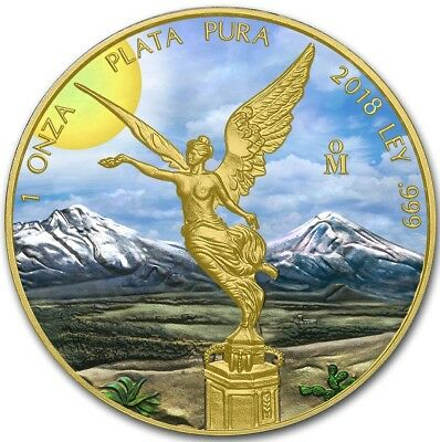 2018 1 Oz Silver Mexican SUNSHINE LIBERTAD Coin WITH 24K GOLD GILDED.