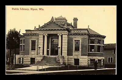 Dr Jim Stamps Us Public Library Ripon Wisconsin Exterior View Postcard