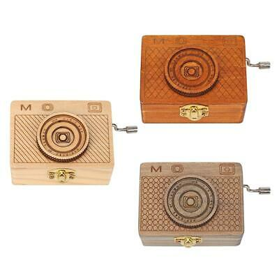 Retro Camera Shape Wooden Hand Cranked Music Box Home Crafts Children Gifts A#S