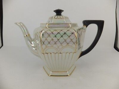 Vintage English lustre 6-8 cup teapot -  with gilt highlights - top condition