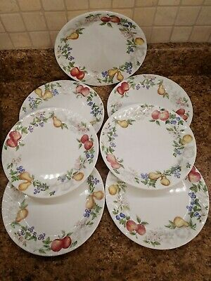 Corelle Chutney Luncheon Plates (7) great condition Lunch Lot Appes and Pears
