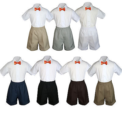3pc Baby Boys Toddler Formal Orange Bow tie Black White Dark Khaki Shorts Set