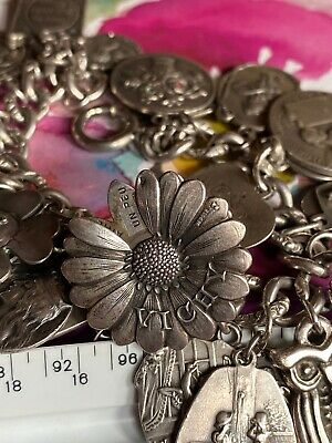French Sterling Silver Forget Me Not Slide Spinner Charm Love Me Love Me Not