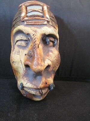 Vintage Brian Tubbs Hand Sculpted Shrunken Head Clay Wall Decor Creepy Artisan