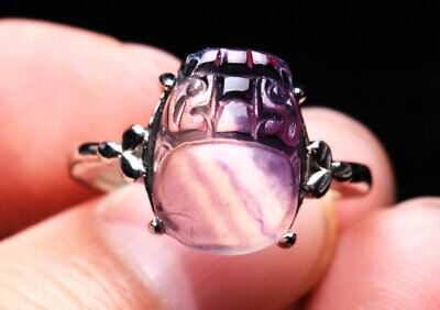 Natural Clear Colorful Fluorite Quartz Crystal Quartz Adjustable Ring AAAA