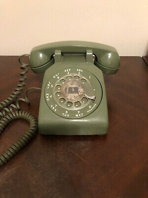 BELL SYSTEM ROTARY DIAL DESK TELEPHONE - Olive Green Western Electric 500MM