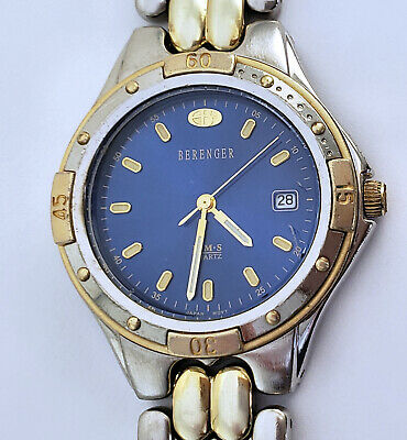 "Men's Vintage Berenger HMS Quartz Analog Calendar Watch 36mm Brass 7½"" Bracelet"