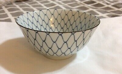 JAPANESE Bowls PORCELAIN FOOTED RICE SOUP BOWL BLUE & WHITE Net Design