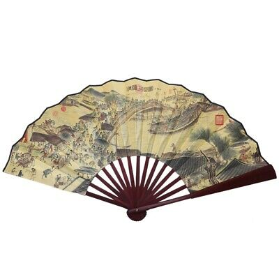 "24.4"" Open Width Chinese Character Print Bamboo Ribs Folding Hand Fan for Men ND"