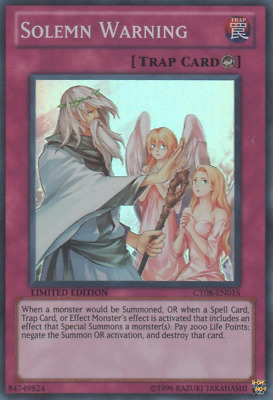 YUGIOH! Solemn Warning - CT08-EN015 - Super Rare Limited Edition NM