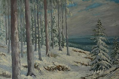 Signed Winter Snowy Forest Landscape Vintage Painting Signature illegible