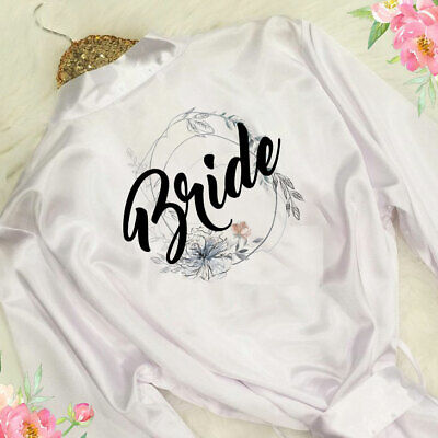 Wedding Bridal Party Bride Bridesmaid Floral Satin Robe Mother Gown Dressing