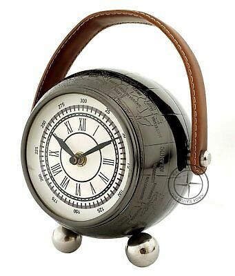 """6"""" Antique Brass World Map Clock With Stand Nautical Leather Desk Decor"""