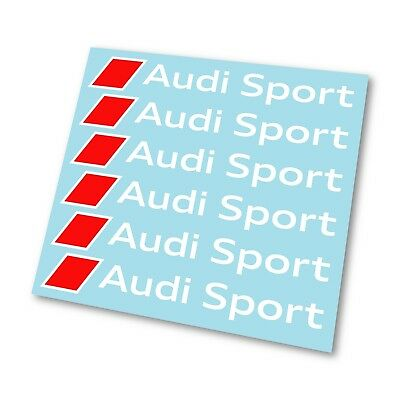 x6 Premium Audi Sport Logo Badge Hi Temp Brake Caliper Stickers Decals