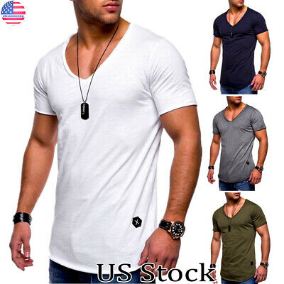 US Mens Short Sleeve V Neck Spory Gym Muscle Casual Slim Fit T-shirt Tops Blouse