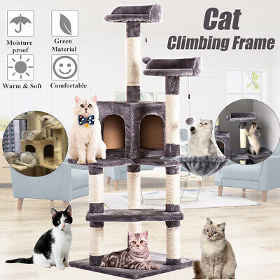 51'' Cat Tree Scratcher Cardboard Play House Condo Furniture Bed Post Pet Tower