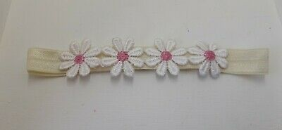 Babies/girls  ivory Headband with 5  flowers pink centre  all sizes made