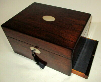 HANDSOME GOOD SIZE VICTORIAN ROSEWOOD & MOP BOX side drawer & key