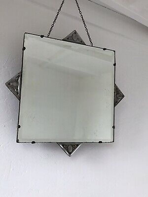Vintage Frameless Square Mirror Lovely Mirror Art Deco Crested Bevelled Mirror