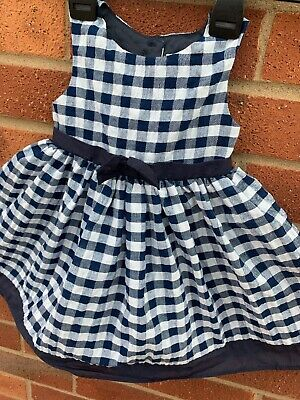 Kids Division Baby Girl Dress Blue Check Bow Sleeveless Lined 9-12 Months
