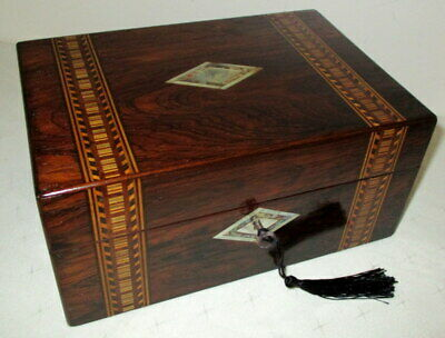 STUNNING TABLE TOP ANTIQUE ROSEWOOD/BANDED & MOTHER OF PEARL BOX with key