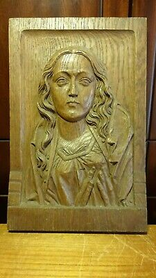 "☩ Antique 14"" Hand Carved Wood Our Lady Mary Madonna Praying Wall Relief Bust ☩"