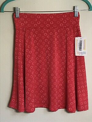 2074 LuLaRoe GIRLS AZURE SKIRT Kids 8 Swing Twirl Red Pink White Heart Polka Dot