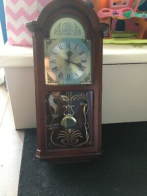 Vintage pendulum wall clock Westminster London Clock Co. Mahogany Case