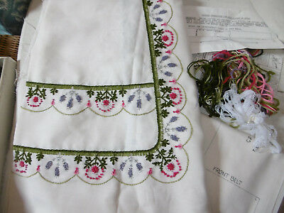 Vintage embroidered apron skirt kit cloth kit almost finished great condition