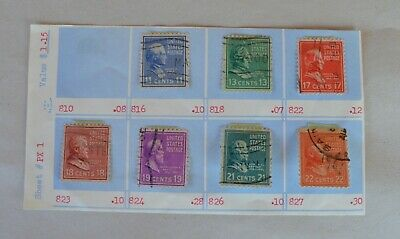 7 Antique Cancelled 19th Century US Postage Stamps 11c 13c 17c 18c 19c 21c 22c