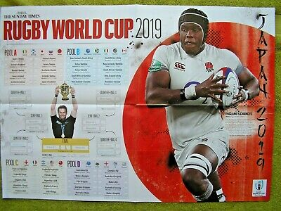 Rugby World Cup Japan 2019 2 Side Wall Chart Mint Free P&P Sunday Times Glossy
